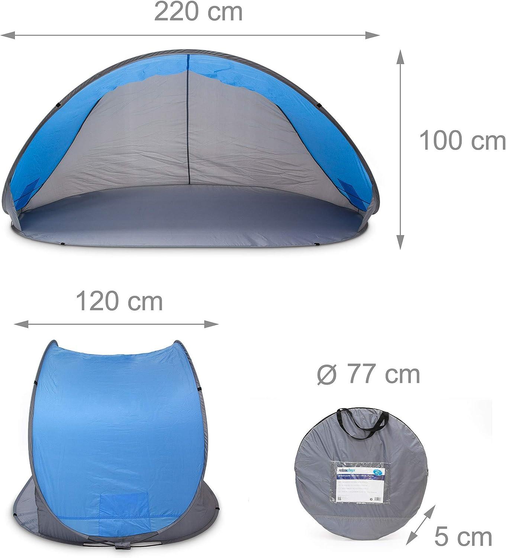 Relaxdays Strandmuschel mit Transporttasche HBT 120 x 220 x 120 cm Strandzelt als Sonnenschutz und Sichtschutz mit UV-Schutzfaktor UV 80 sch/ützt vor Wind und Sand