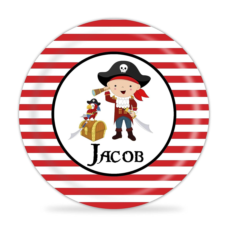 Brunette Boy Pirate Melamine Personalized Plate Pirate Plate