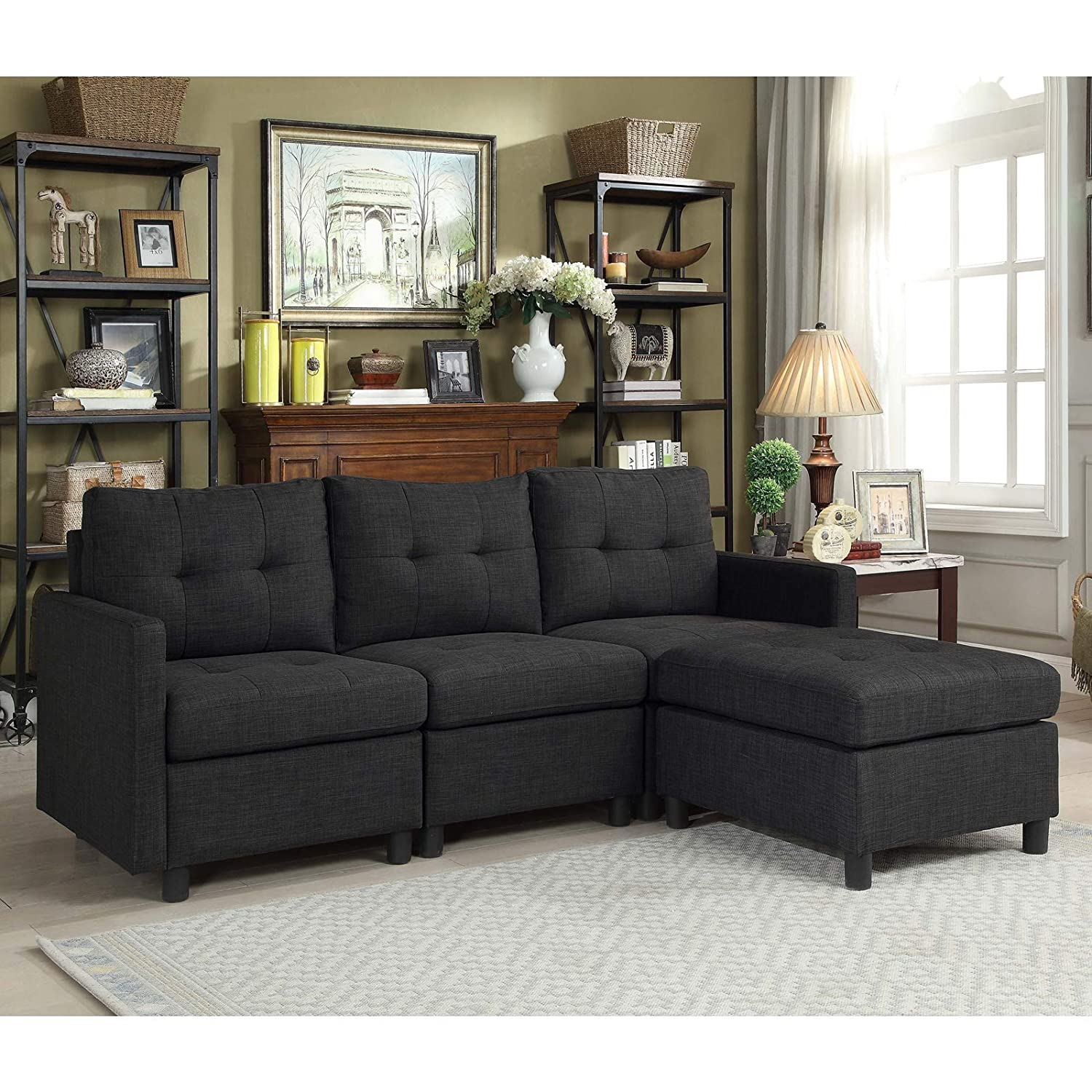 Amazon com bliss brands modular sectional sofa sets assemble living room furniture sofas loveseat bundle set cushions easy to assemble d6012 7 kitchen
