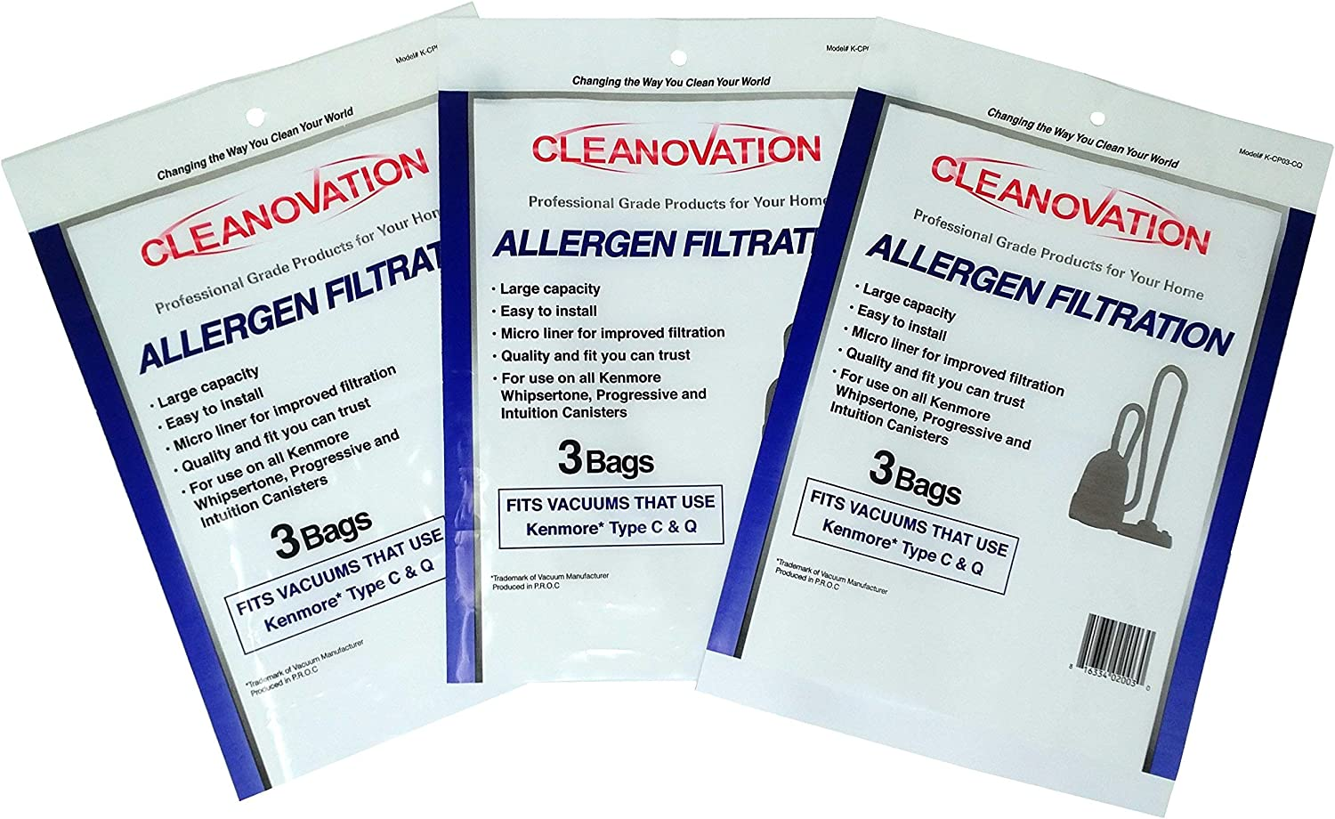 Cleanovation Vacuum Cleaner Bags Replacement for Kenmore C, Q; 5055, 50557, 50558; Panasonic Type C-6; 9-Pack - Micro Allergen Bag, Lined Allergen Bags, Micro Lined Bags