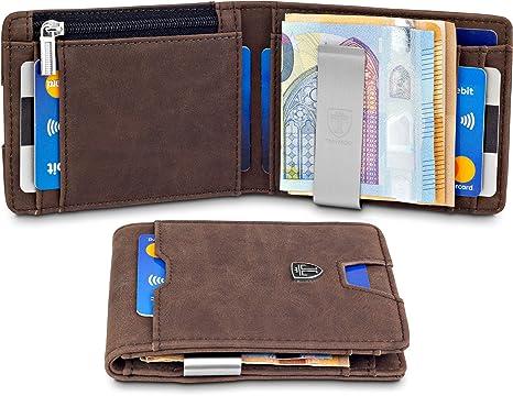 TRAVANDO Cartera con Pinza para Billetes DUBAI Bloqueo RFID Seguridad tarjetera hombre slim billetera, estuche