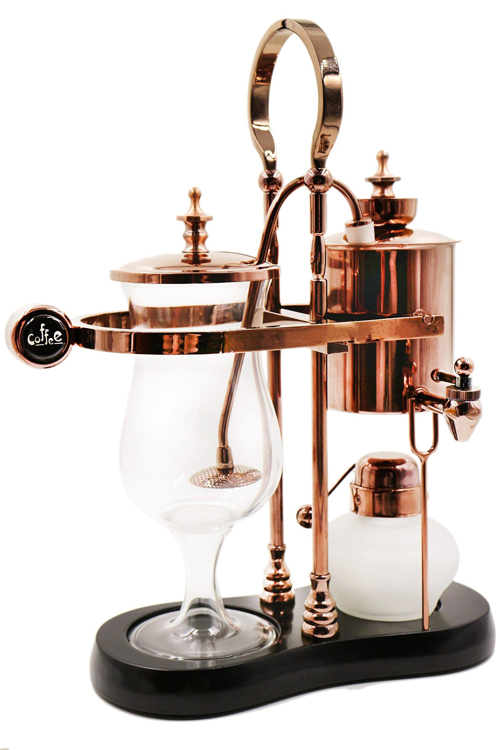 Diguo Belgian / Belgium Luxury Royal Family Balance Syphon Coffee Maker. Elegant Retro-Style Design. Color: Rose Golden. Capacity: 500ml / 17 oz.