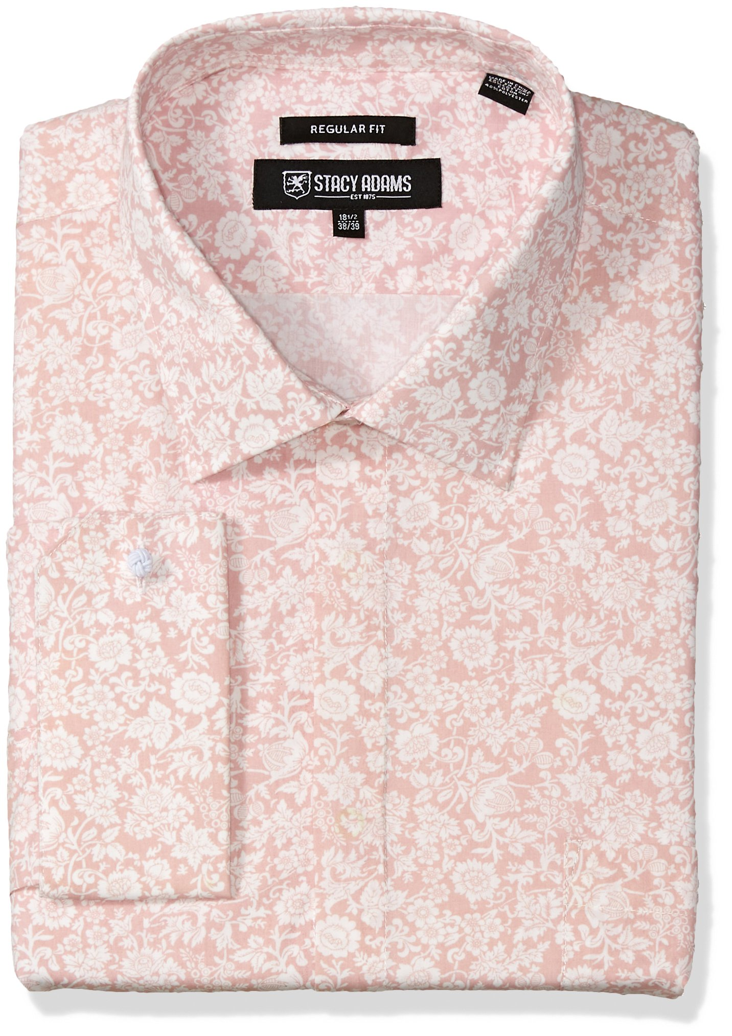 Stacy Adams Men's Big and Tall Roses Classic Fit Dress Shirt, Pink, 18.5'' Neck 34-35'' Sleeve by Stacy Adams