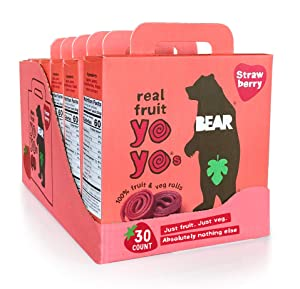 BEAR - Real Fruit Yoyos - Strawberry - 0.7 Ounce (30 Count) - No added Sugar, All Natural, non GMO, Gluten Free, Vegan - Healthy on-the-go snack for kids & adults
