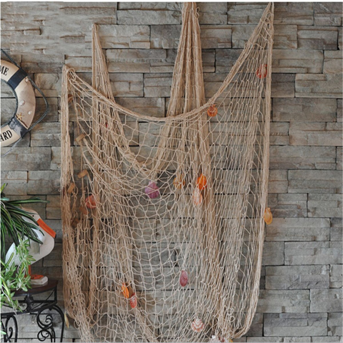 Youbedo Nautical Fish Net With Shells Decoration Retro Photography Props Creamy White Mediterranean Style Fish Net Decor 79 x 59inch Loririri