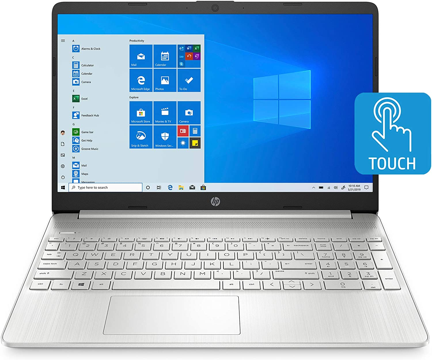 Amazon Com Hp 15 Inch Touchscreen Laptop Amd Ryzen 3 3250u 8 Gb Ram 256 Gb Ssd Windows 10 Home In S Mode 15 Ef1020nr Natural Silver Computers Accessories