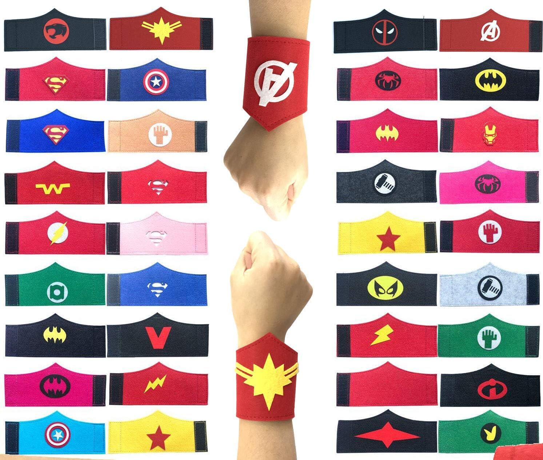 Pack de 36 pulseras de superhéroe para niños, niñas y niñas Fiesta de cumpleaños de superhéroe, suministros favores, brazalete de fieltro de superhéroe, accesorios de pulsera Correa para la muñeca