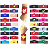 32 Pack Superhero Bracelet for Kids Boys & Girls Superhero Birthday Party Supplies FavorsSuperhero Felt BangleWristband Accessories Wrist Strap