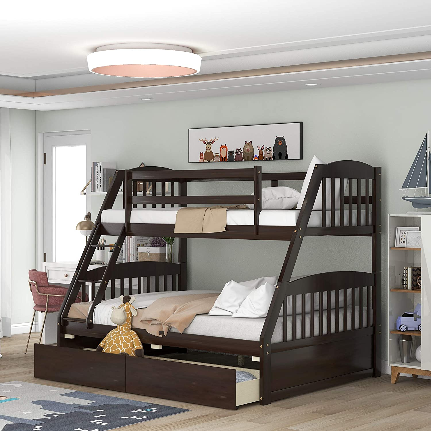 Best for Storage Drawers: Rhomtree Wood Twin Over Full Bunk Bed