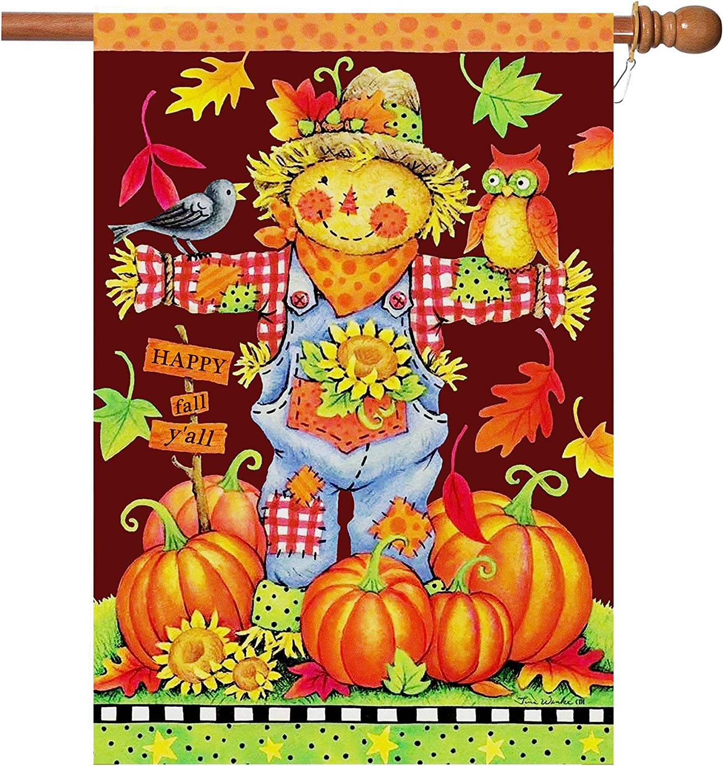 Amazon Com Fall House Flags Double Sided Autumn Flag Scarecrow Harvest Pumpkin Yard Decorations Happy Fall Garden Flags 28 X 40 Inch Large Fall Yard Flags With 2 Grommets Garden Outdoor