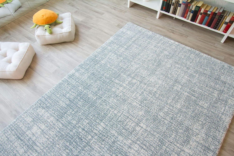 Designer Designer Designer Teppich Modern Nancy in Creme hellblau, Größe  135x190 cm B01M4IAOO0 Teppiche c2ee43