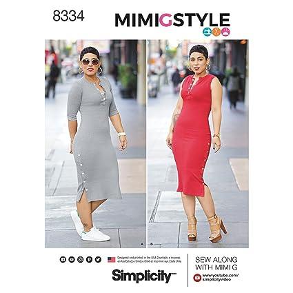 Amazon Simplicity Patterns 8334 K5 Misses Knit Dress By Mimi G