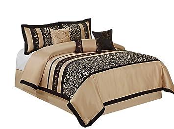 Comfort Spaces Charlize 5 Piece King Size Comforter Set Paisley Jacquard Black