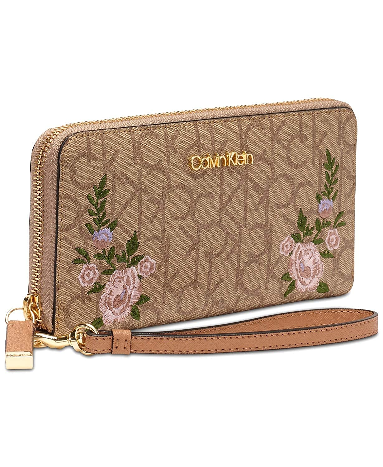 38446a52877f96 Amazon.com: Calvin Klein Logo Pink Floral Embroidered Saffiano Leather  Wallet Wristlet Clutch Bag: Shoes