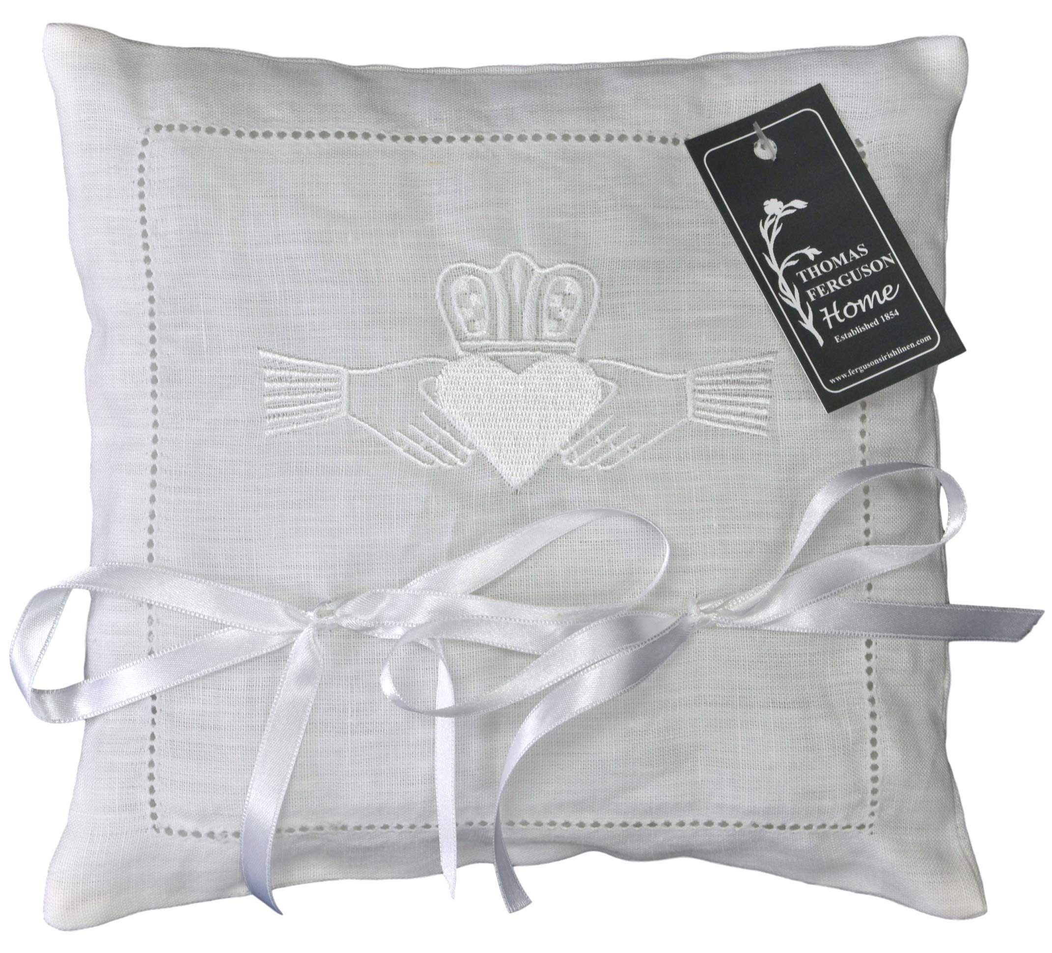 Thomas Ferguson Irish Linen - Wedding Ring Cushion with Embroidered Claddagh Heart Design, White