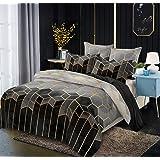 Manfei Honeycomb Duvet Cover Set Queen Size Modern Geometric Bedding Set 3pcs for Kids Boys Teens Room Decor Gold Hexagon Pri
