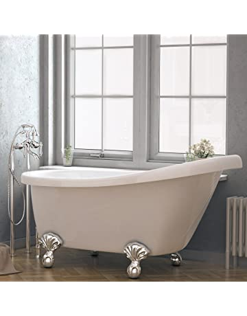 Luxury 60 Inch Clawfoot Tub With Vintage Slipper Tub Design In White,  Includes Polished Chrome