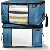 XERAN Foldable Storage Bags | Heavy-Duty Large Organizer Bags for Clothes, Blankets, Household Garments, Shoes | for Easy Storage Under Bed or as Closet Organizer | Set of 2 (Blue)