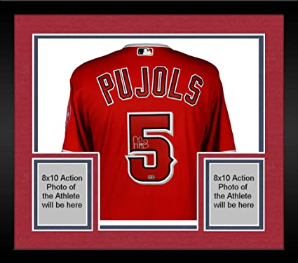 47eb82c66 Image Unavailable. Image not available for. Color  Framed Albert Pujols Los  Angeles Angels Autographed Majestic Red Authentic Jersey ...