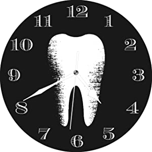 Dadidyc Funny Dentist Office Dental Care Tooth Rustic Large Wall Clock Decor for Bedroom Nursery Round Silent Clock Art for Kids Girls Boys Room 10 inches