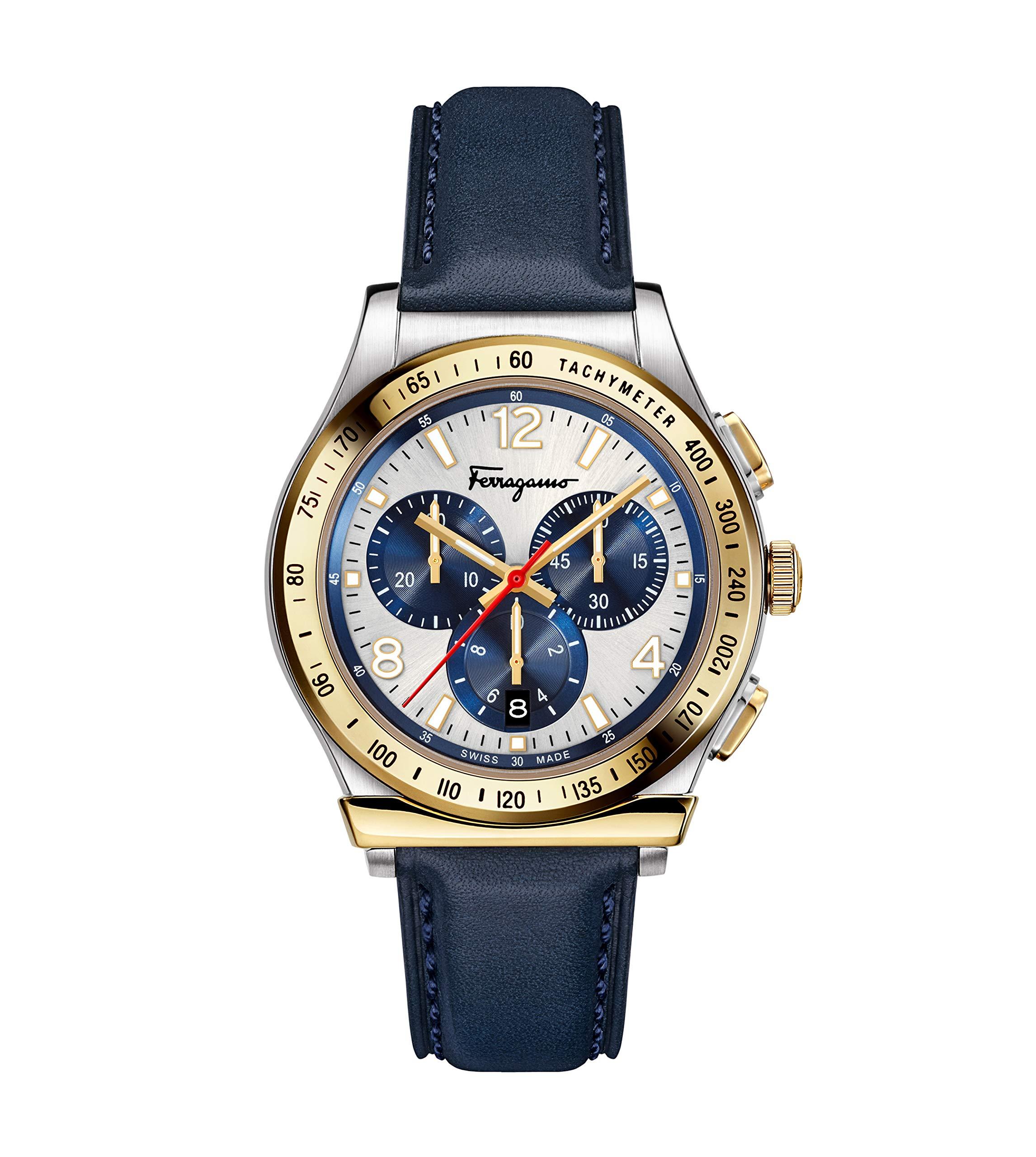 Salvatore Ferragamo Men's Ferragamo 1898 Stainless Steel Quartz Watch with Leather Calfskin Strap, Blue, 20 (Model: SFDK00218