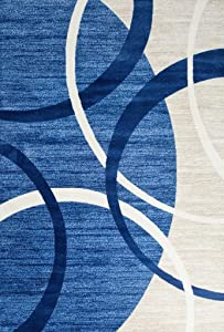 3895 Blue Swirls 5'2 x 7'2 Modern Abstract Area Rug Carpet