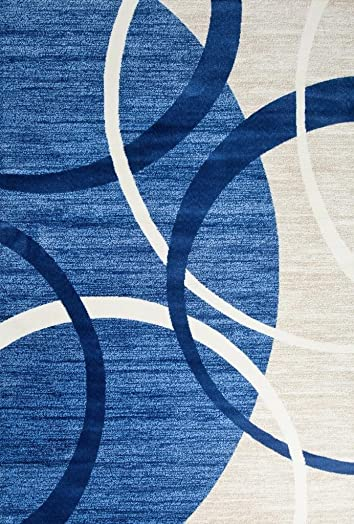 3895 Blue Swirls 6'5 x 9'2 Modern Area Rugs Mo.