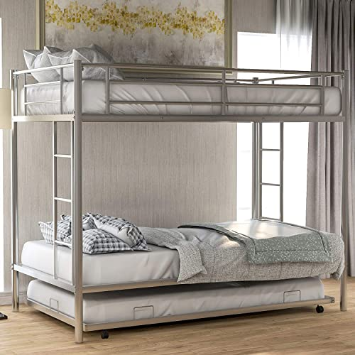 Twin Over Twin Metal Bunk Bed with Trundle, Rockjame Space Saving Design Sleeping Bedroom Bed Frame with 2 Ladders and Safety Rail for Boys, Girls, Kids, Young Teens and Adults Sliver