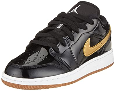 1638b9e934c5a3 Jordan Kids AIR 1 Low GG Black Metallic Gold White Size 3.5