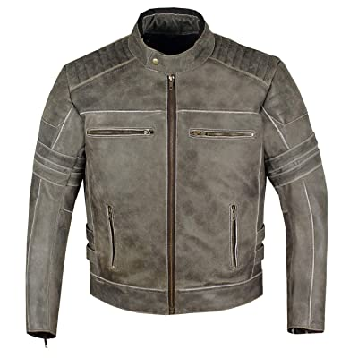Men's SHADOW Motorcycle Distressed Cowhide Leather Armor Black Jacket Biker L: Automotive