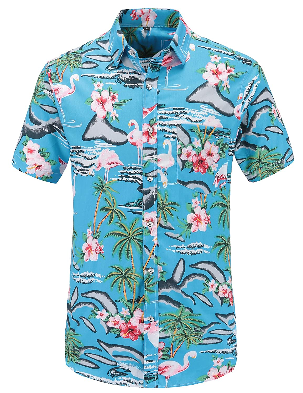 JEETOO Men's Casual Pineapple Short Sleeve Button Down Hawaiian Aloha Shirt