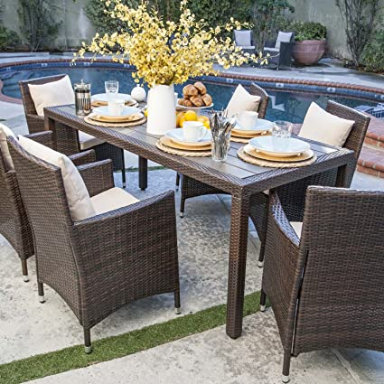 Amazon.com : Nathaniel 7 Piece Outdoor Patio Dining Set with ...