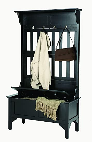 Lovely Home Style 5650 49 Full Hall Tree And Storage Bench, Black Finish