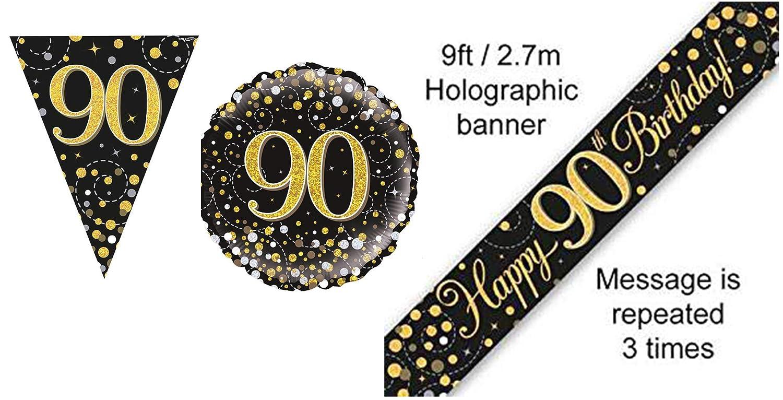 Sparkling Fizz Black /& Gold Happy Birthday Banner