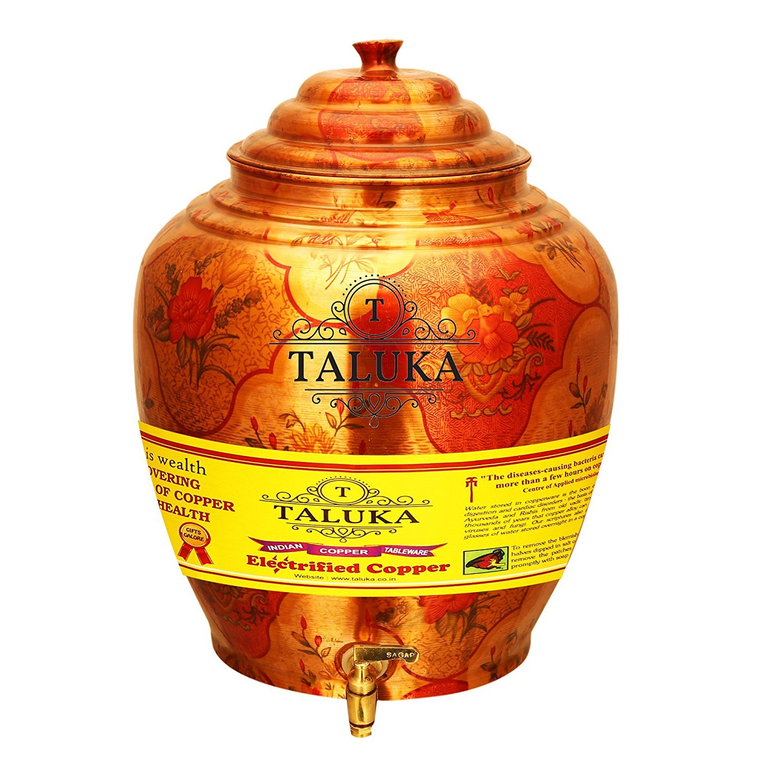 Taluka Pure Copper Water Pot Dispenser Matka Water Tank Water Storage Capacity :- 541 Oz Weight :- 1600 Grams for use Storage Drinking Water Restaurant Hotel Home Wae Good Health Benefits