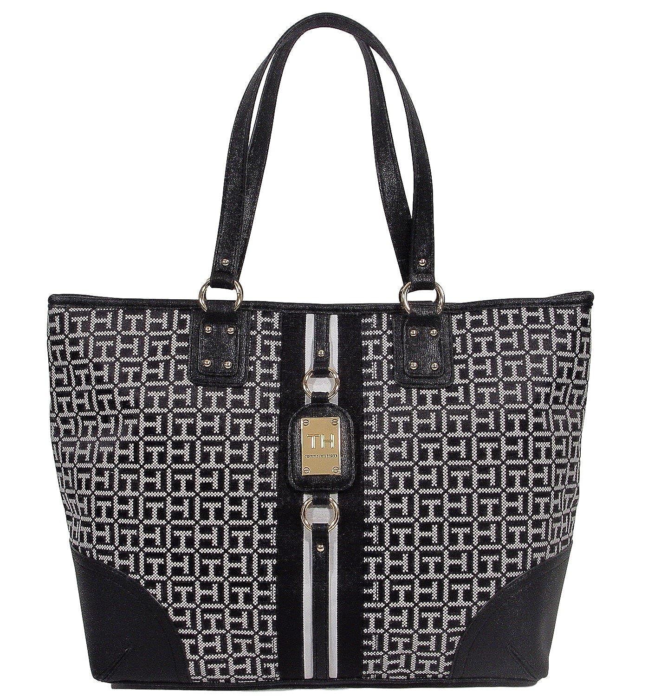 1a498888c Tommy Hilfiger Logo Travel Shopper Large Tote Bag Handbag Purse -  Black/White: Amazon.co.uk: Shoes & Bags
