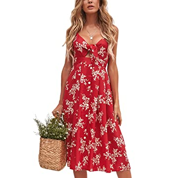 8adc35808df ECOWISH Womens Dresses Summer Tie Front V-Neck Spaghetti Strap Button Down  A-Line Backless Swing Midi Dress