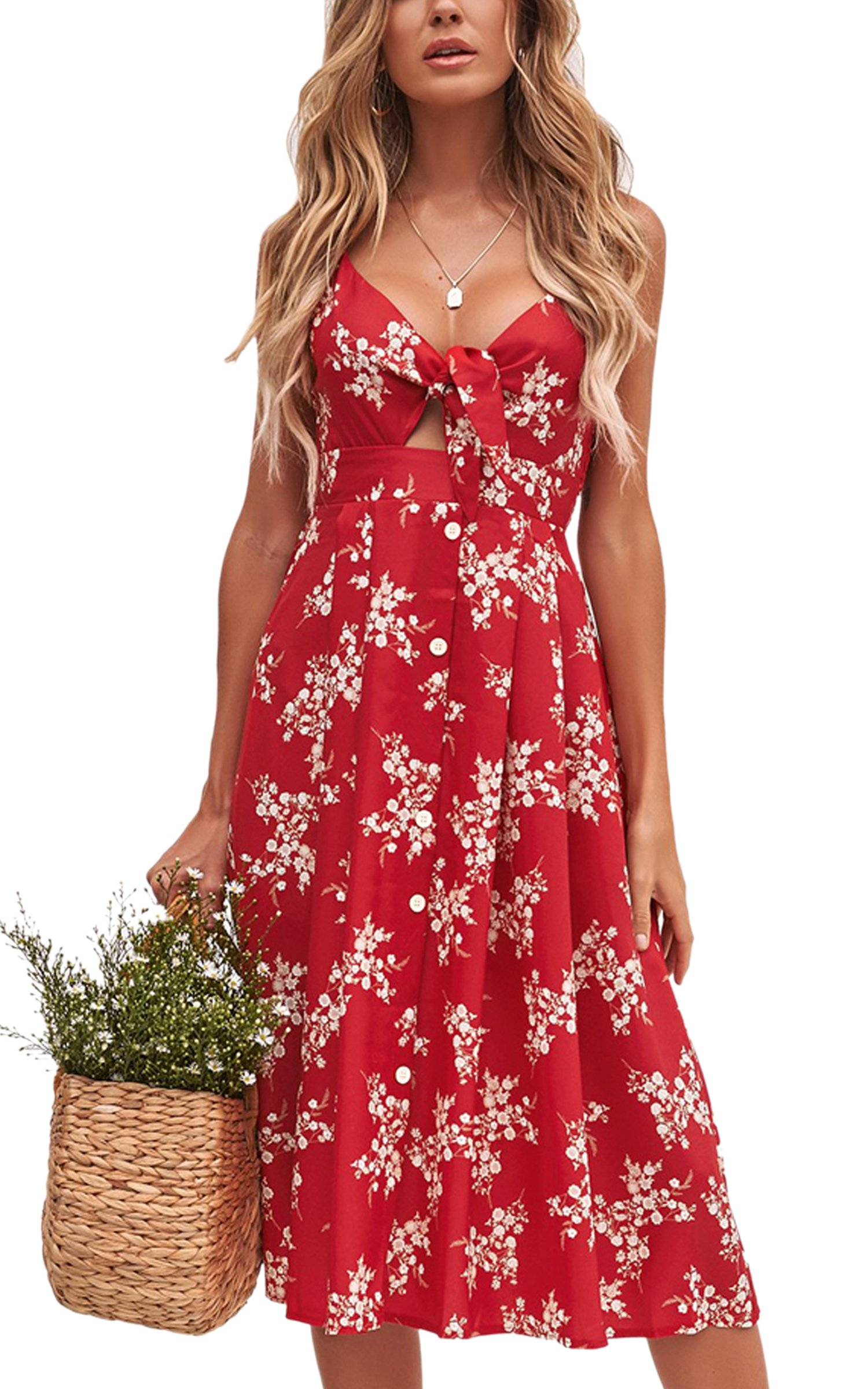 b8d541e84e9 Galleon - ECOWISH Womens Dresses Summer Tie Front V-Neck Spaghetti Strap  Button Down A-Line Backless Swing Midi Dress 1603 Red S