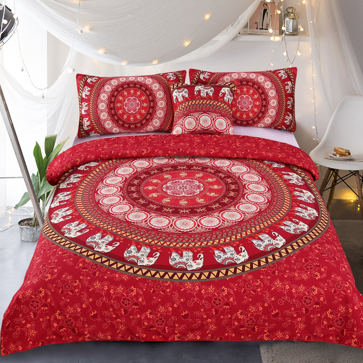 Elephant Mandala Duvet Cover Red Bohemian Bedding Hippie Bed Set Elephant Tapestry Bedding - Queen