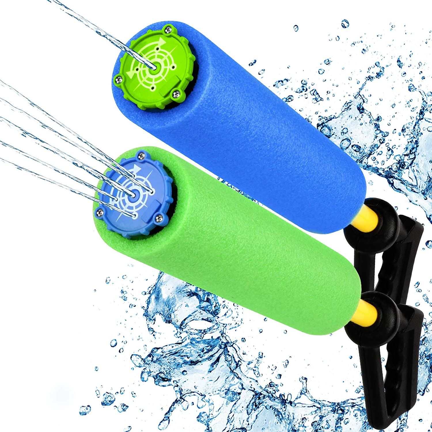 Water Blaster Soaker Gun, Large Sizes 2 Pack Squirt Water Toy for Children & Adults - Two Switchable Squirt Mode with 5 Water Spout for More Fun in Pool, Beach etc. 2 Bright Colors Up to 33 Ft Blast.