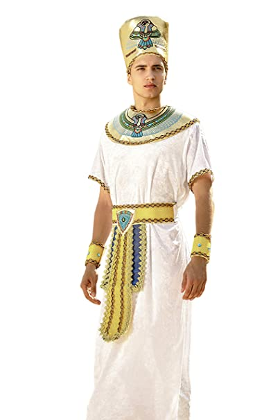 Adult Men Egyptian Pharaoh Costume Living Horus King Khufu Ancient Egypt Dress Up (Medium/Large, White, Gold)