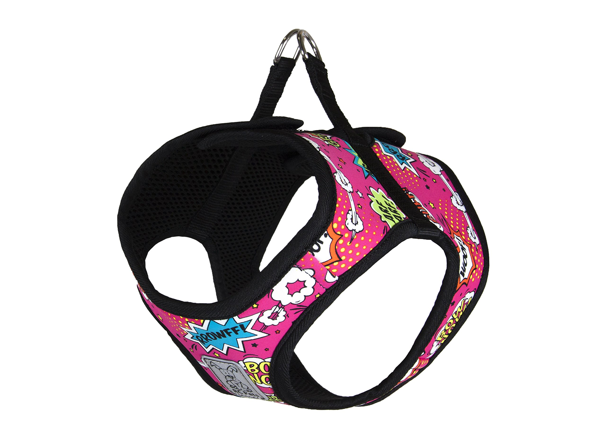 RC Pet Products Cirque Soft Walking Step-in Dog Harness, Pink Comic Sounds, Large