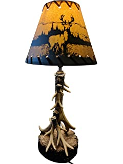Single Antler Desktop Table Top Light Lamp With Deer Shade Size 18
