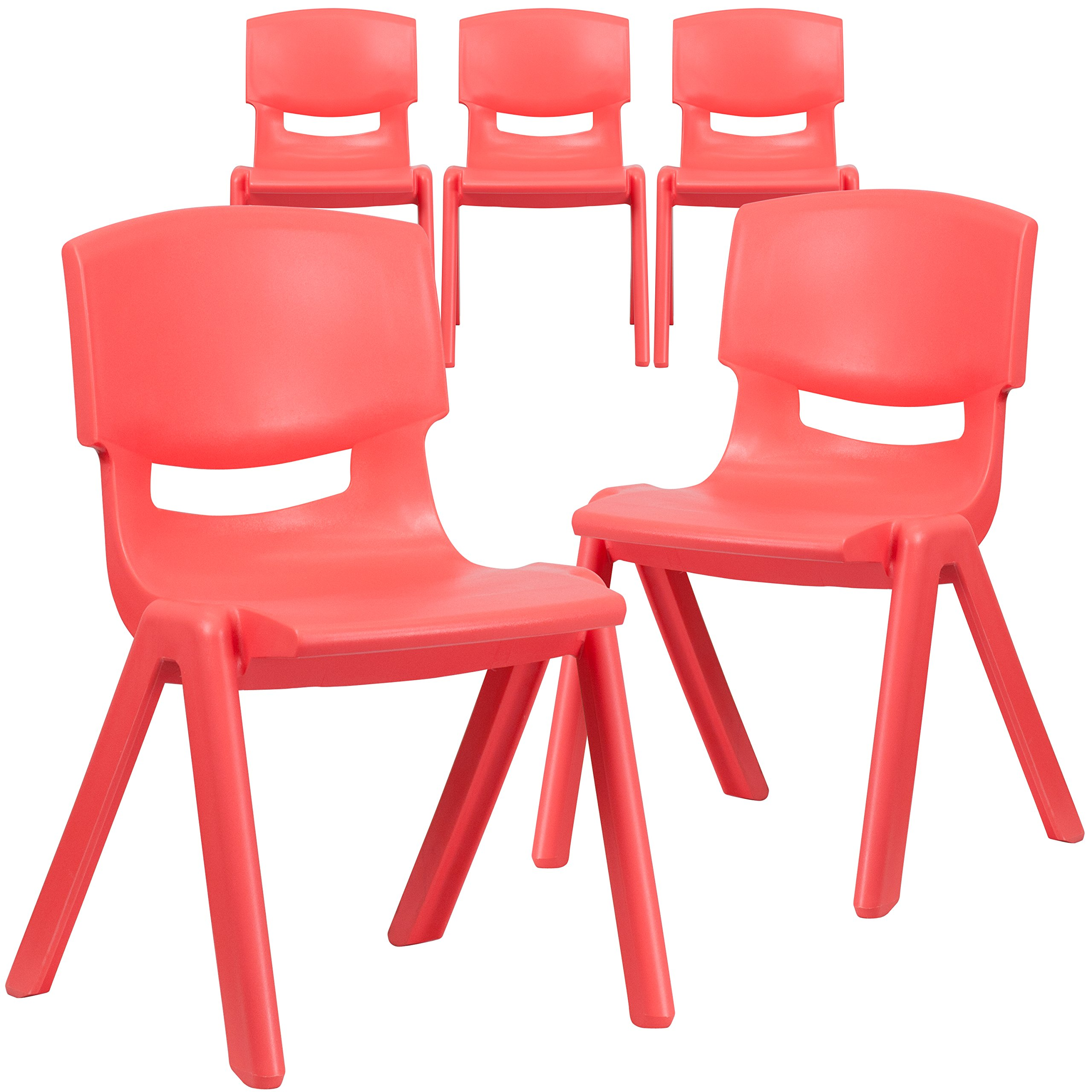 Flash Furniture 5 Pk. Red Plastic Stackable School Chair with 15.5'' Seat Height