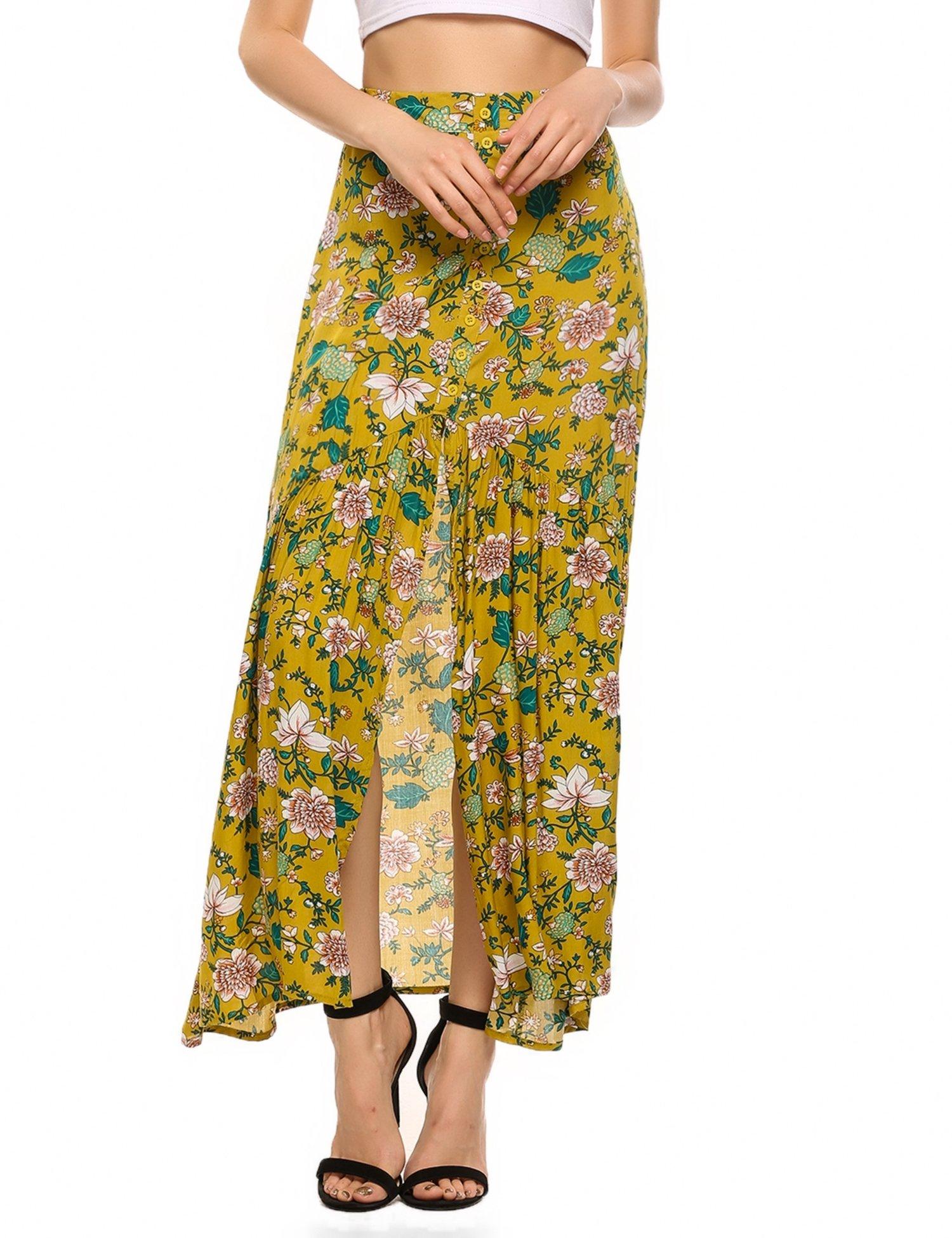 Zeagoo Women's Boho Floral Print High Waist Summer Beach Wrap Long Maxi Skirt Yellow XL
