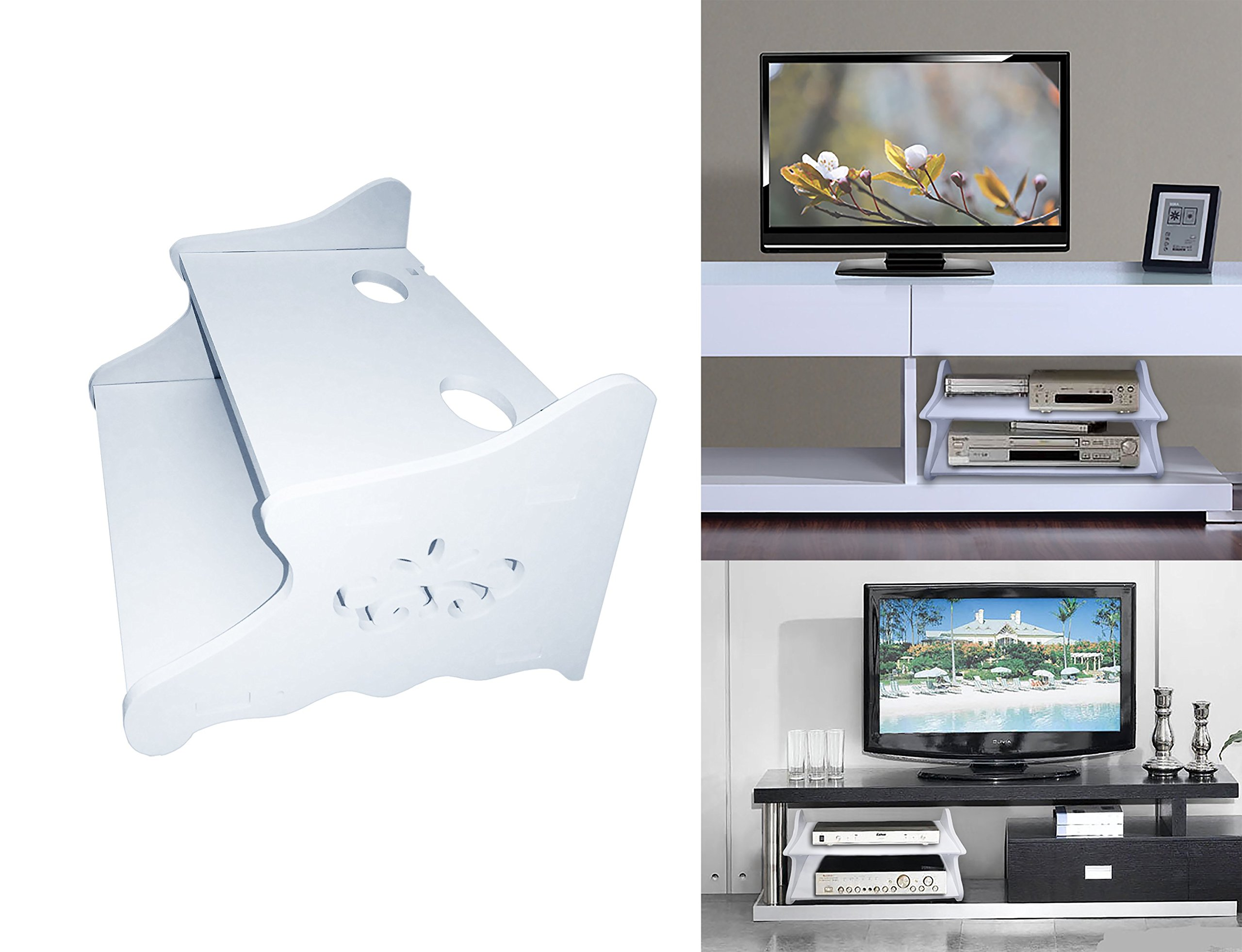 Floating Wall shelf 2 tier with holes for wiring for DVD or Dvr machines holds it up high with additional shelf for remote or small stuff