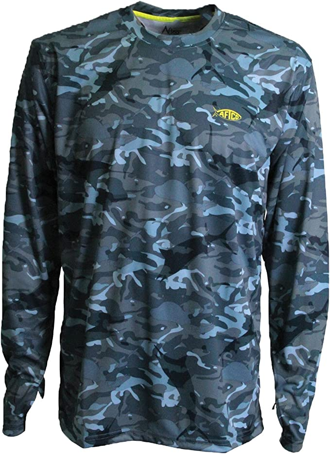 AFTCO Caster Long Sleeve T-Shirt Black Camo Size Large