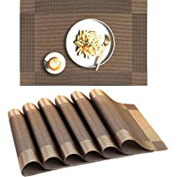 Kemitech Placemat 6-Piece Set, Non-Slip and Washable PVC Table Mat, Easy-to-Clean Plastic Table Mat, 30×45cm, Place Mats…