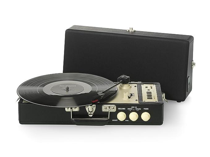 Ricatech RTT98 - Tocadiscos (USB, SD, AUX), diseño Vintage, color negro