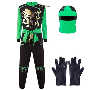 Katara Disfraz de Ninja Dragón para Niño Carnaval, Cosplay, color verde lloyd, Talla S (3-5 años) (1771)
